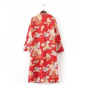 Other - Red Floral Print Kimono